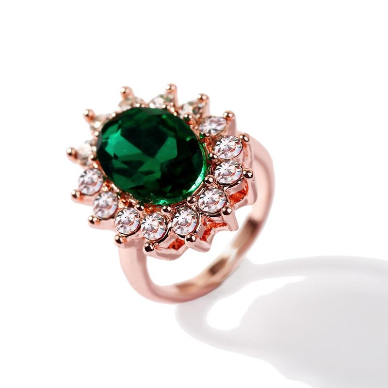 Fashion inlaid synthetic emerald ring luxury ladies dinner wholesale NHJJ199356