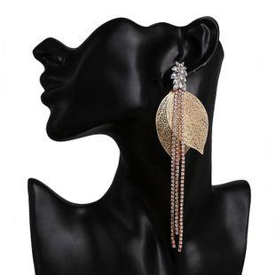 Pendientes grandes de borla de hoja dorada de moda pendientes largos de personalidad para mujer NHJJ199360's discount tags