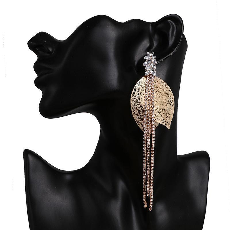 Fashion golden leaf tassel big earrings personality long earrings women NHJJ199360