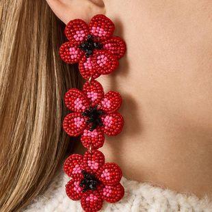 Pendientes bohemios de moda tejidos a mano pendientes exquisitos de flores largas de mujer NHJQ199364's discount tags