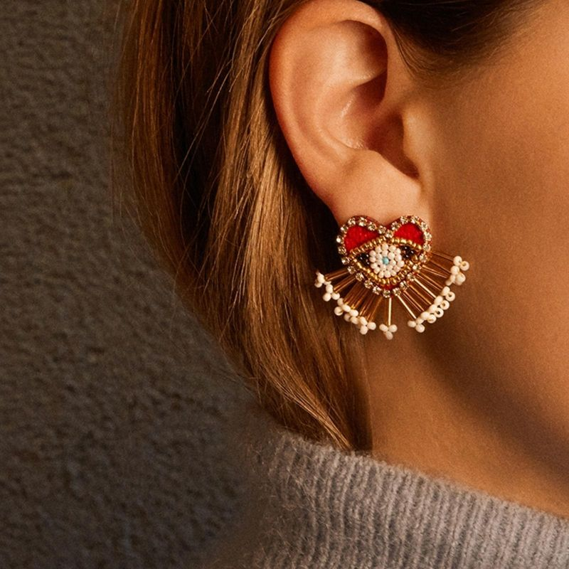 Nihaojewelry Fashion creative exquisite beaded earrings love eyes diamond earrings NHJQ199365
