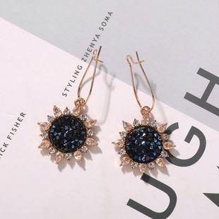 Nihaojewelry exquisite sun flower earrings women hot new trendy fashion shiny diamond ear jewelry NHJQ199367's discount tags