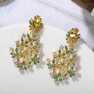 Nihaojewelry 925 Silver Needle Hollow Flower Earrings Pendientes de diamantes brillantes de nueva moda NHJQ199369's discount tags