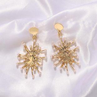 Pendientes de perlas metálicas creativas exageradas de moda Pendientes irregulares de temperamento de moda femenina NHJQ199376's discount tags