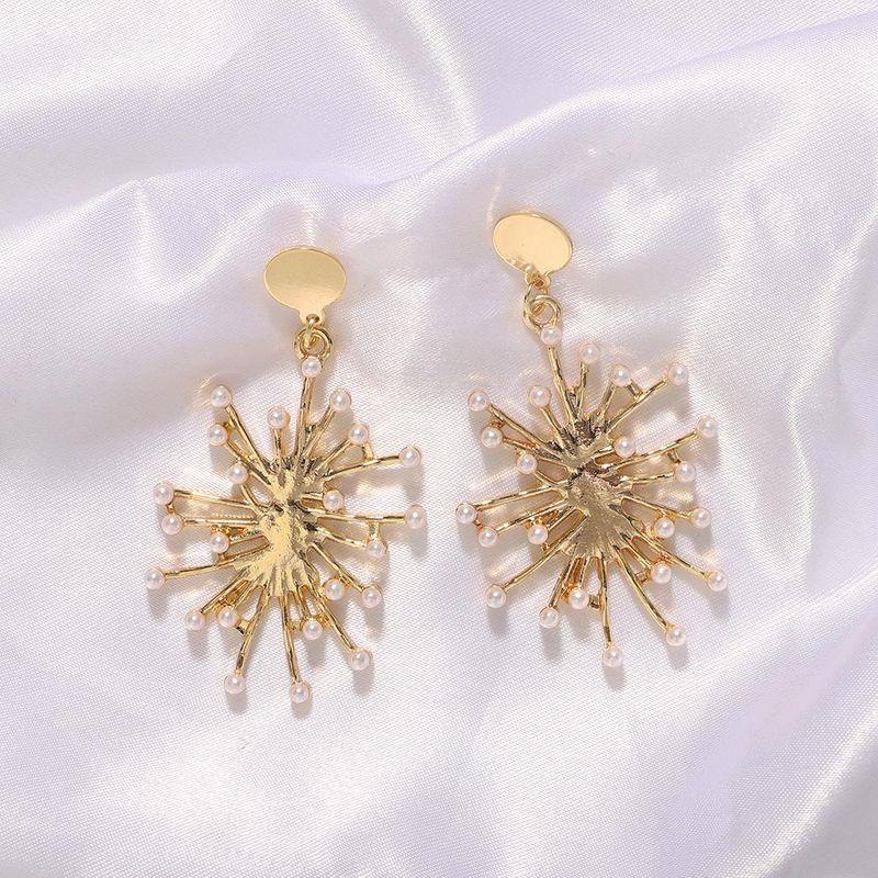Fashion exaggerated creative metallic pearl earrings female fashion temperament irregular earrings NHJQ199376