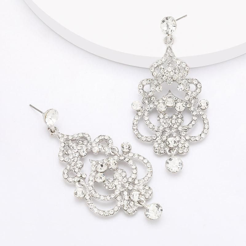 Fashion alloy carved earrings female vintage court earrings wholesale earrings NHJE199383