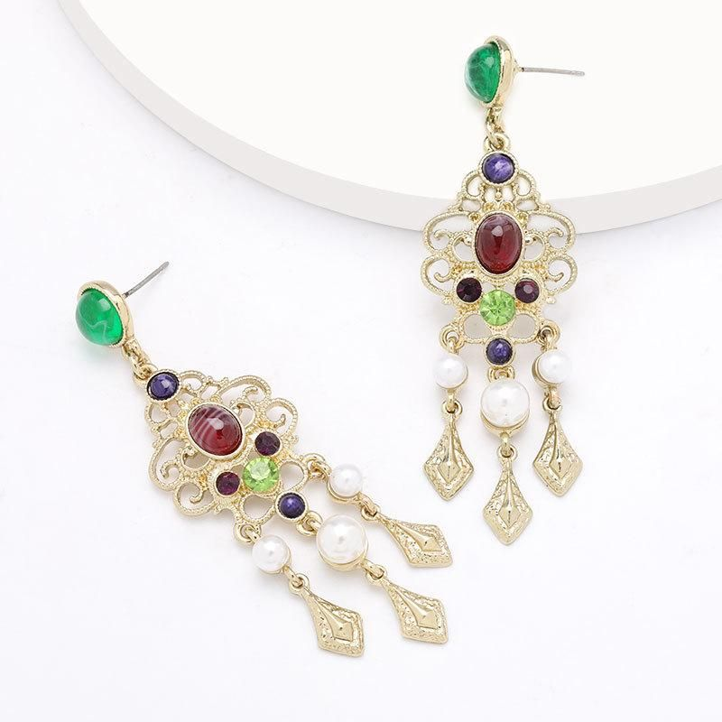 Fashion exaggerated alloy diamond and pearl resin retro earrings female earrings NHJE199386