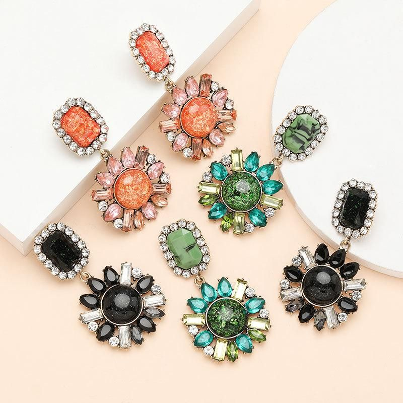 Fashion round resin alloy diamond acrylic flower earrings female vintage earrings NHJE199387