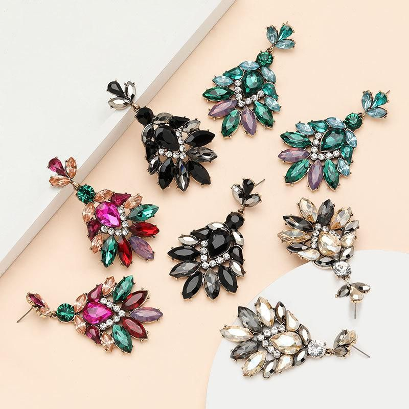 Fashion alloy diamond rhinestone acrylic full diamond earrings wholesale women's earrings NHJE199388