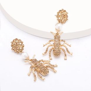 Fashion earrings alloy diamond and pearl insect earrings wholesale women's earrings NHJE199389's discount tags