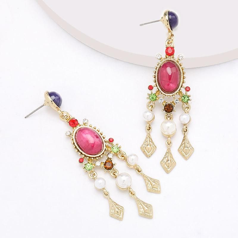 New alloy diamond earrings with pearl resin female retro earrings wholesale NHJE199390