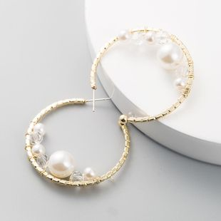Fashion Exaggerated C-shaped Earrings Alloy Pearl Earrings NHLN199391's discount tags