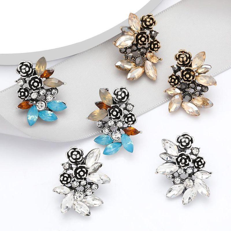Fashion earrings alloy diamond acrylic flower earrings wholesale earrings NHJE199392