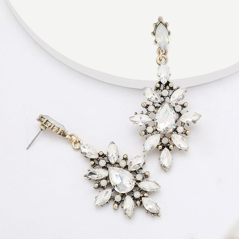 Fashion alloy diamond acryl earrings female super flash full diamond earrings wholesale earrings NHJE199393