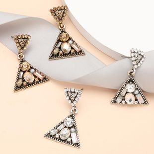 Creative simple multilayer triangle alloy diamond acrylic geometric earrings for women NHJE199394's discount tags