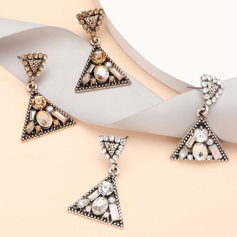 Creative simple multilayer triangle alloy diamond acrylic geometric earrings for women NHJE199394
