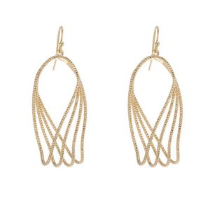 Fashion Exaggerated Golden Geometric Cutout Long Earrings Wholesale NHZU199397's discount tags