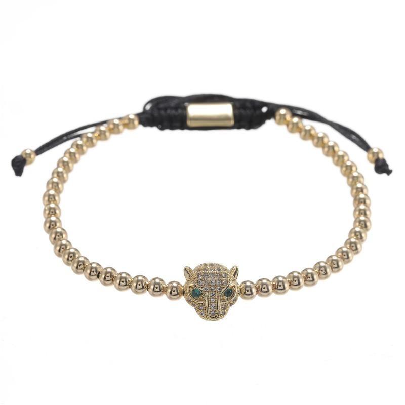 Nihaojewelry Simple new copper beads woven micro-inlaid zircon leopard head four-color bracelet bracelet wholesale men NHZU199398