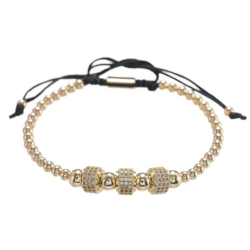 Nihaojewelry Simple and stylish new copper bead woven zircon wheel bracelet bracelet accessories wholesale men NHZU199399