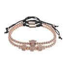 Fashion vintage copper bead woven micro inlaid zircon leopard head wheel chain NHZU199400
