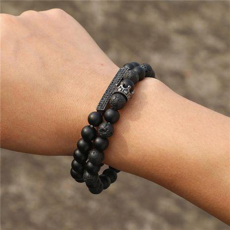 Mode pierre naturelle noir givré lave mixte couronne longue bracelet extensible ensemble NHZU199401's discount tags