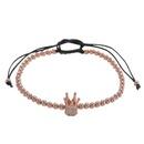 Hot sale punk simple wild copper bead woven micro inlaid zircon crown fourcolor bracelet bracelet men NHZU199402