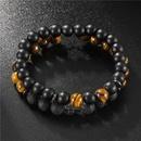 Fashion 8mm Black Frosted Tiger39s Eye Volcanic Cross Bracelet Set NHZU199407