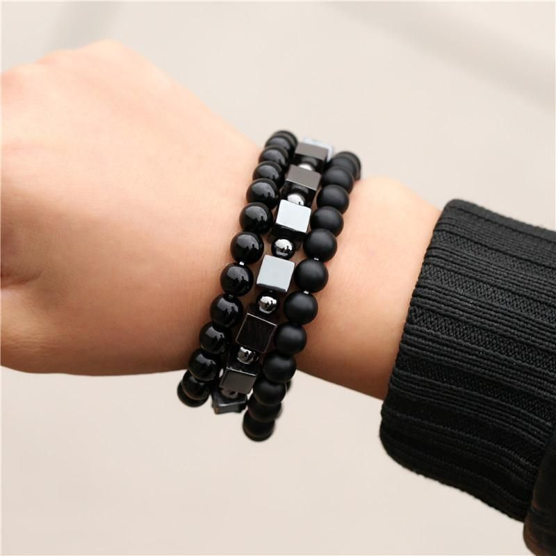 Retro wild 8mm black frosted black diamond square iron three-piece bracelet NHZU199409
