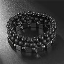 Retro wild 8mm black frosted black diamond square iron threepiece bracelet NHZU199409