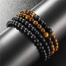 Nihaojewelry 6mm Tigers Eye Black Frosted Septa Diamond Ring Elastic Fourpiece Bracelet Set Men NHZU199412