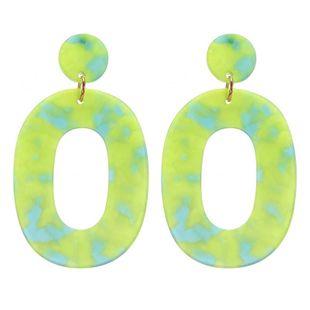 Nihao joyería moda simple verde acrílico hueco pendientes mujeres NHZU199415's discount tags