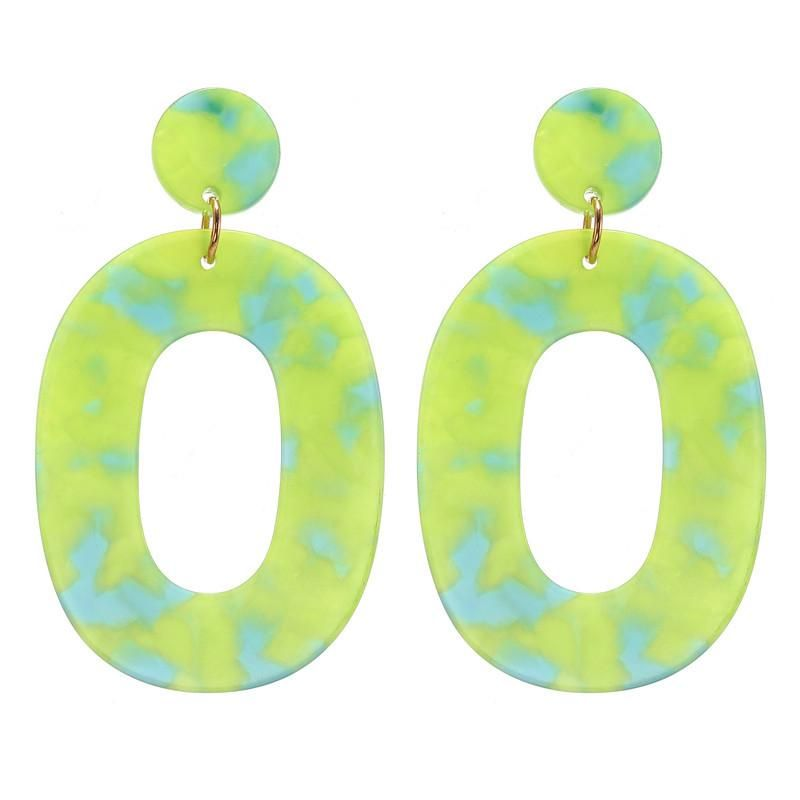 Nihao jewelry fashion simple green acrylic hollow earrings women NHZU199415