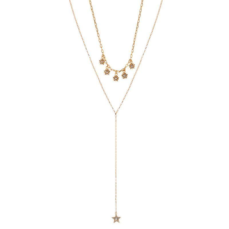 Fashion Simple Diamond Pendant Pendant Double Necklace Sweater Chain Necklace NHZU199416