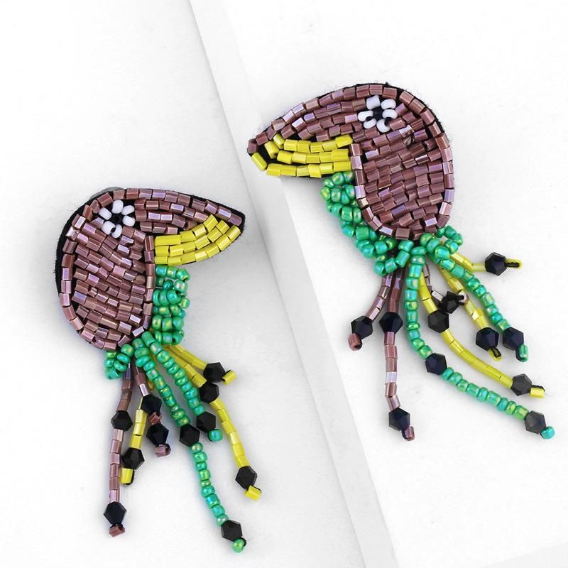 Fashion Exaggerated Mizhu Parrot Tassel Earrings Women Retro Animal Trend Earrings Wholesale NHAS199424