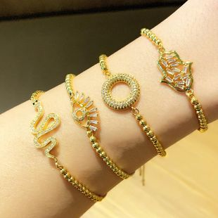 Fashion Bracelet Wholesale Micro Inlaid Color Zirconia Snake Bracelet Adjustable Bracelet NHAS199423's discount tags