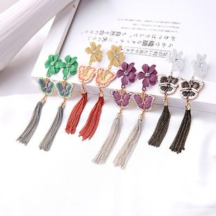 Korean simple flower earrings fashion enamel glaze butterfly earrings female long temperament tassel earrings NHQD199440's discount tags