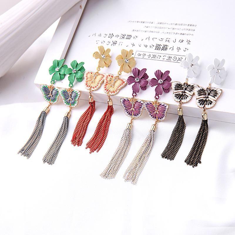 Korean simple flower earrings fashion enamel glaze butterfly earrings female long temperament tassel earrings NHQD199440