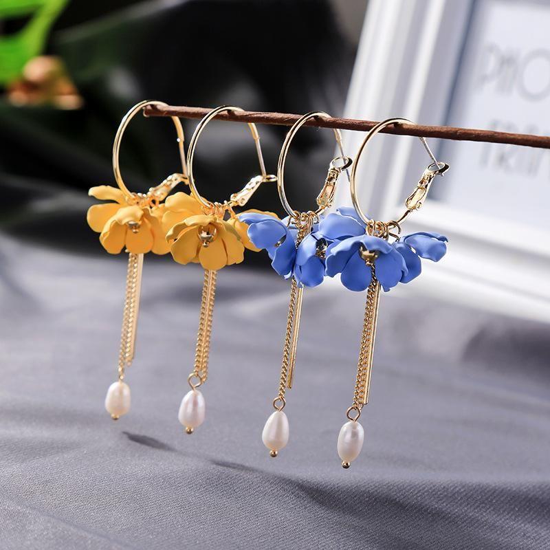 Fashion pearl pendant earrings wild long tassel flower earrings women NHQD199441
