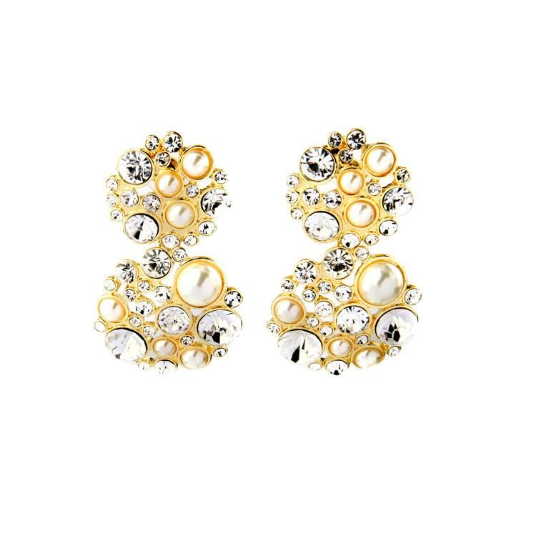 Fashion Jewelry Wholesale Round Pearl Diamond Pendant Women's Ear Studs NHQD199447