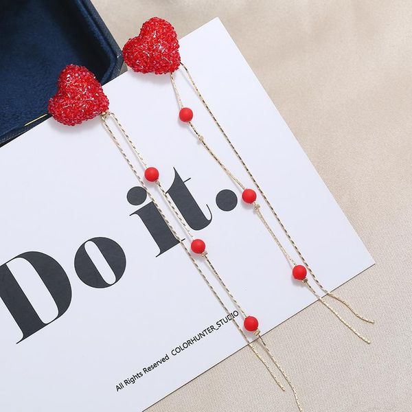Fashion Peach Heart Drop Earrings Creative Geometric Heart Stud Earrings Female Sweet Long Earrings NHKQ199461