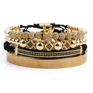 Fashion Cubic Zircon Crown 6mm Diamond Ball Double Row Crescent Set Bracelet NHYL199477's discount tags
