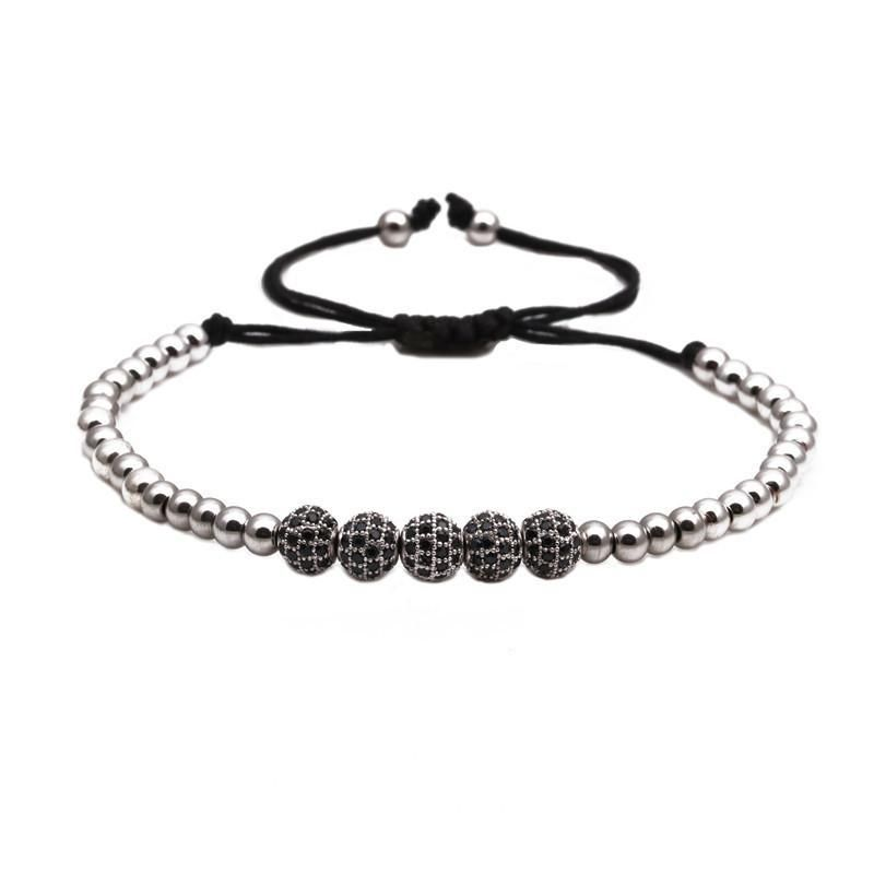 Fashion 6mmZC Black Zircon Woven Bracelet Copper Micro Inlaid Zircon Beaded Bracelet Wholesale NHYL199483