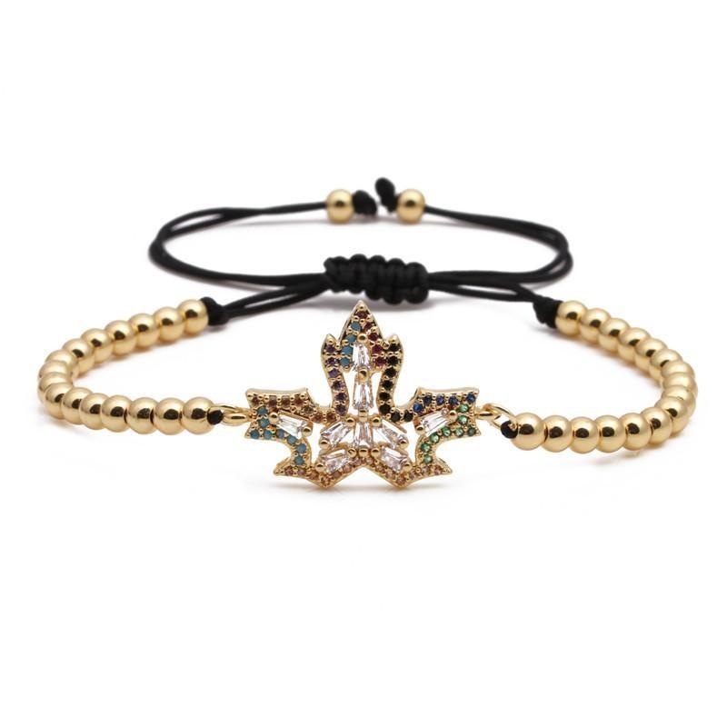 Fashion Micro Set Zircon Maple Leaf Bracelet Copper Beaded Bracelet NHYL199485
