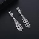 Fashionable Korean temperament long copper inlaid zirconium ladies earrings banquet new earrings NHTM199523