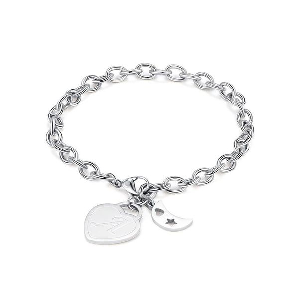 Fashion Explosion Jewelry 26 Letters Peach Heart Pendant Stainless Steel Bracelet Moon Accessories NHXS199529