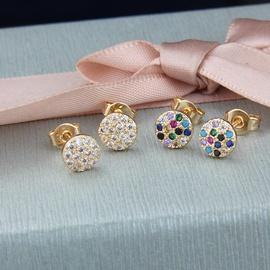 Nihaojewelry copper plated round white zirconium color zirconium stud earrings NHBP199534