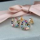 Nihaojewelry New Fashion Copper Plating Small Heart Shaped White Zirconium Color Zirconia Stud Earrings NHBP199535