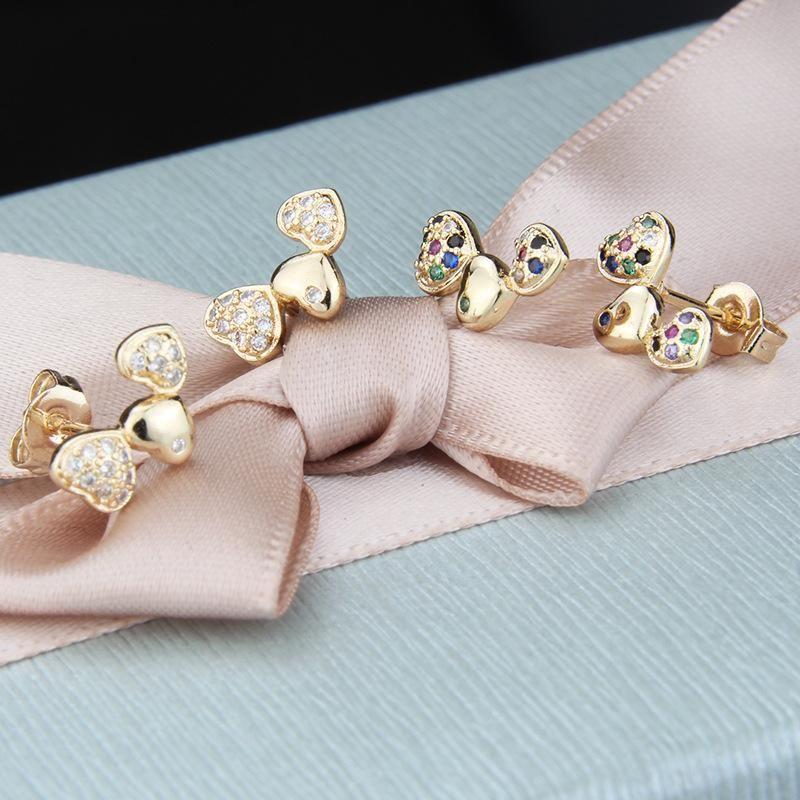 Nihaojewelry New Fashion Copper Plating Three Heart White Zirconium Color Zirconium Earring NHBP199538