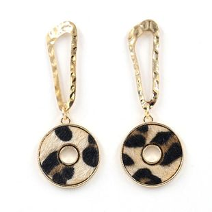 Fashion Leopard New Gold Patch Leather Pop Earrings Female Alloy Stud Earrings NHHM199539's discount tags