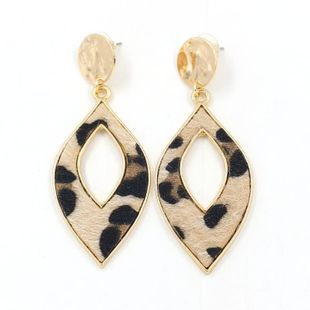 New earrings Wholesale Fashion Horsehair Leopard Leather Leaf Earrings NHHM199541's discount tags